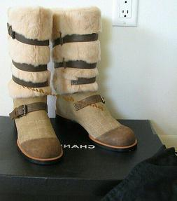 $1390. CHANEL BOOTS RUNWAY Fur & Leather Apres After Ski Sno