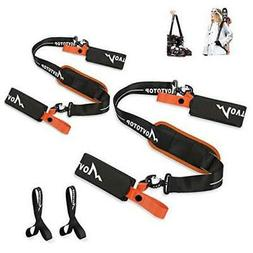 Ski Straps for Carrying,2 Packs Adjustable Ski Carrier with